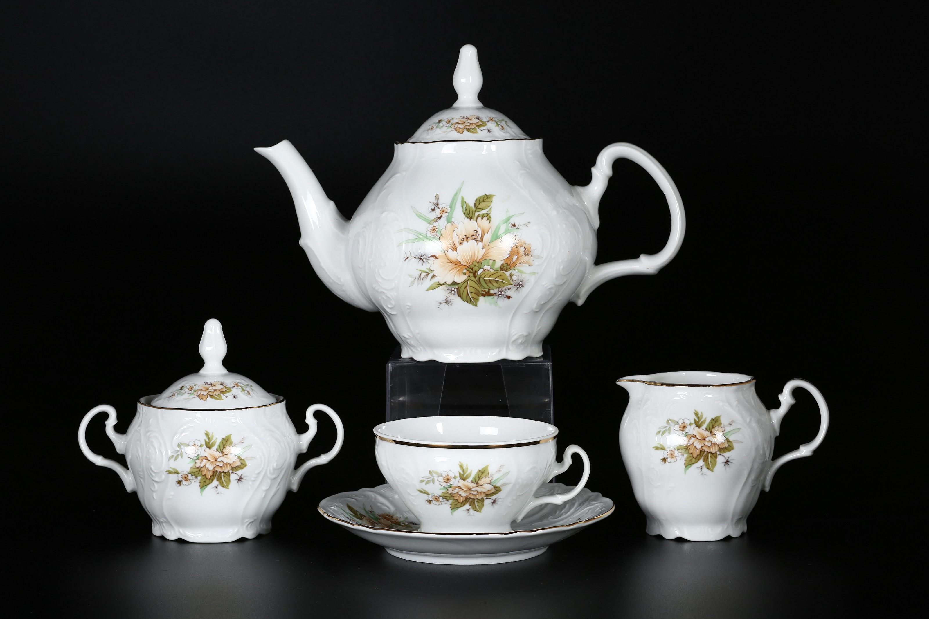 Чайный сервиз ЗЕЛЕНЫЙ ЦВЕТОК от Bernadotte на 6 персон, 17 предметов