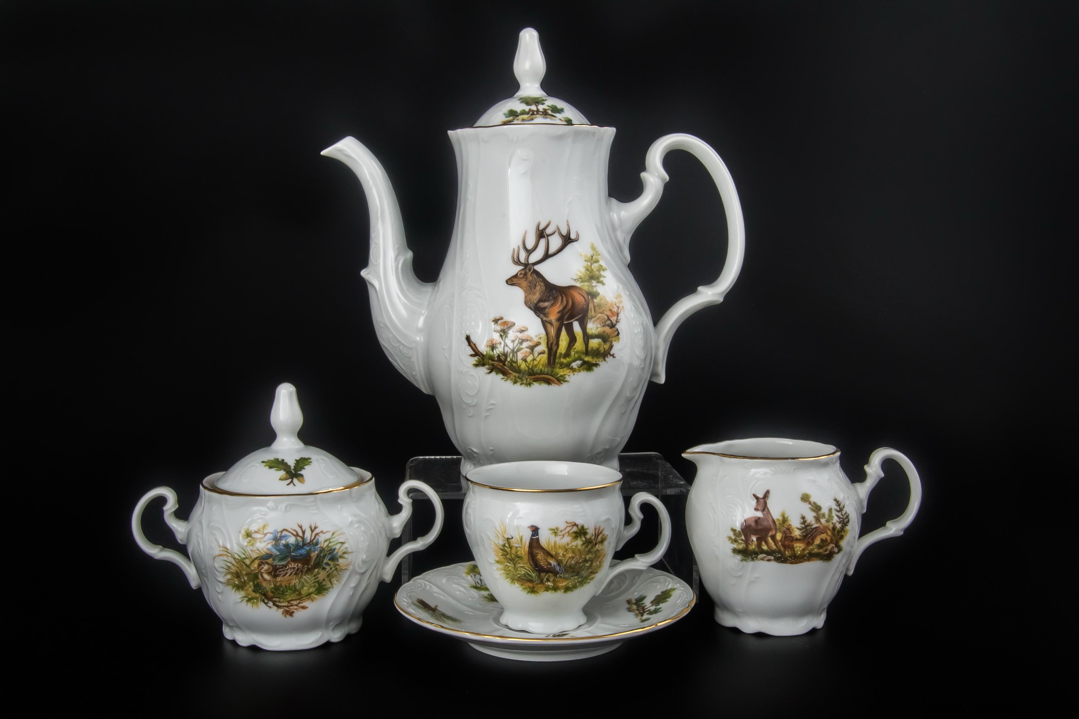 Кофейный фарфоровый сервиз ОХОТА от Bernadotte на 6 персон, 17 предметов
