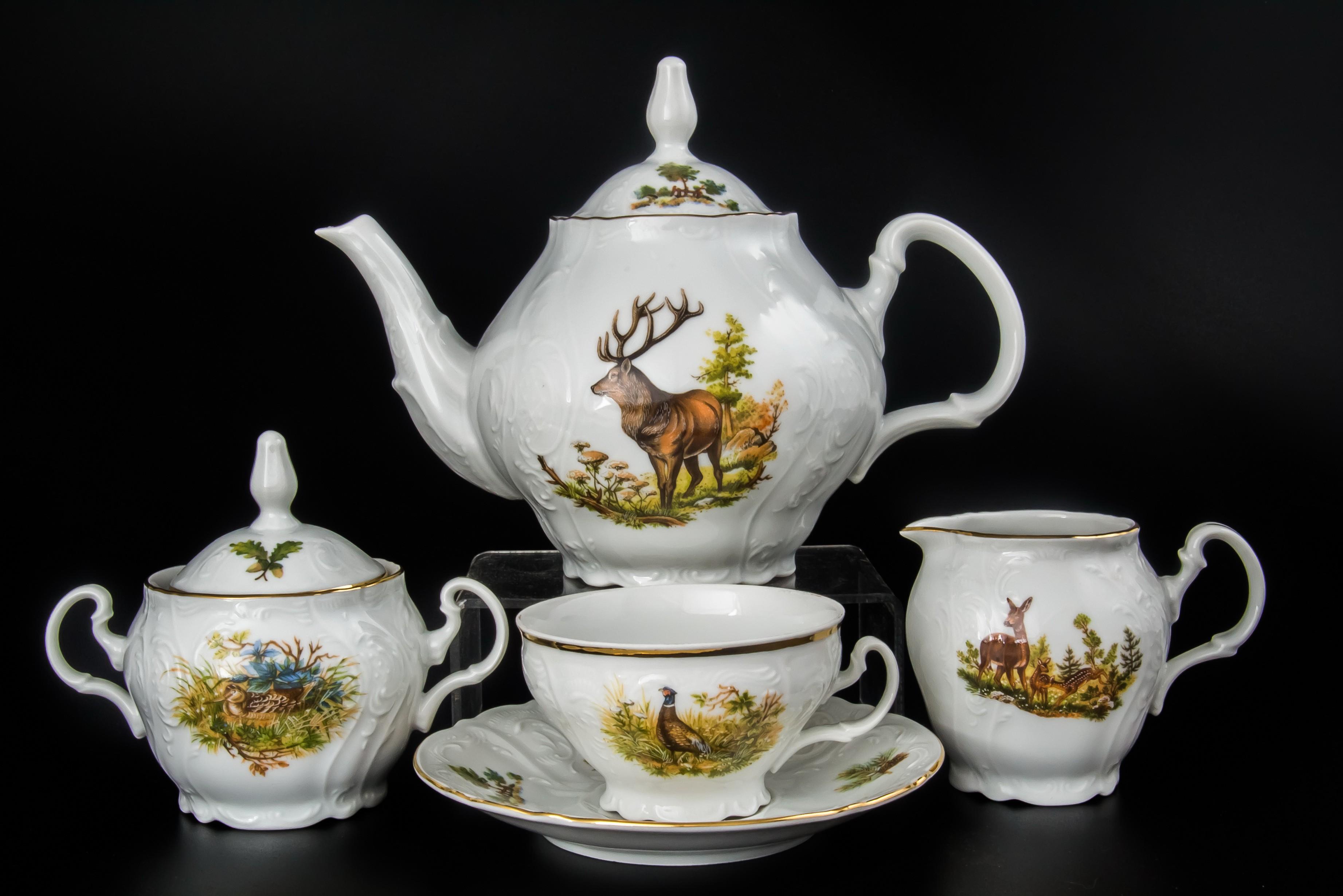 Чайный сервиз ОХОТА от Bernadotte на 6 персон, 17 предметов