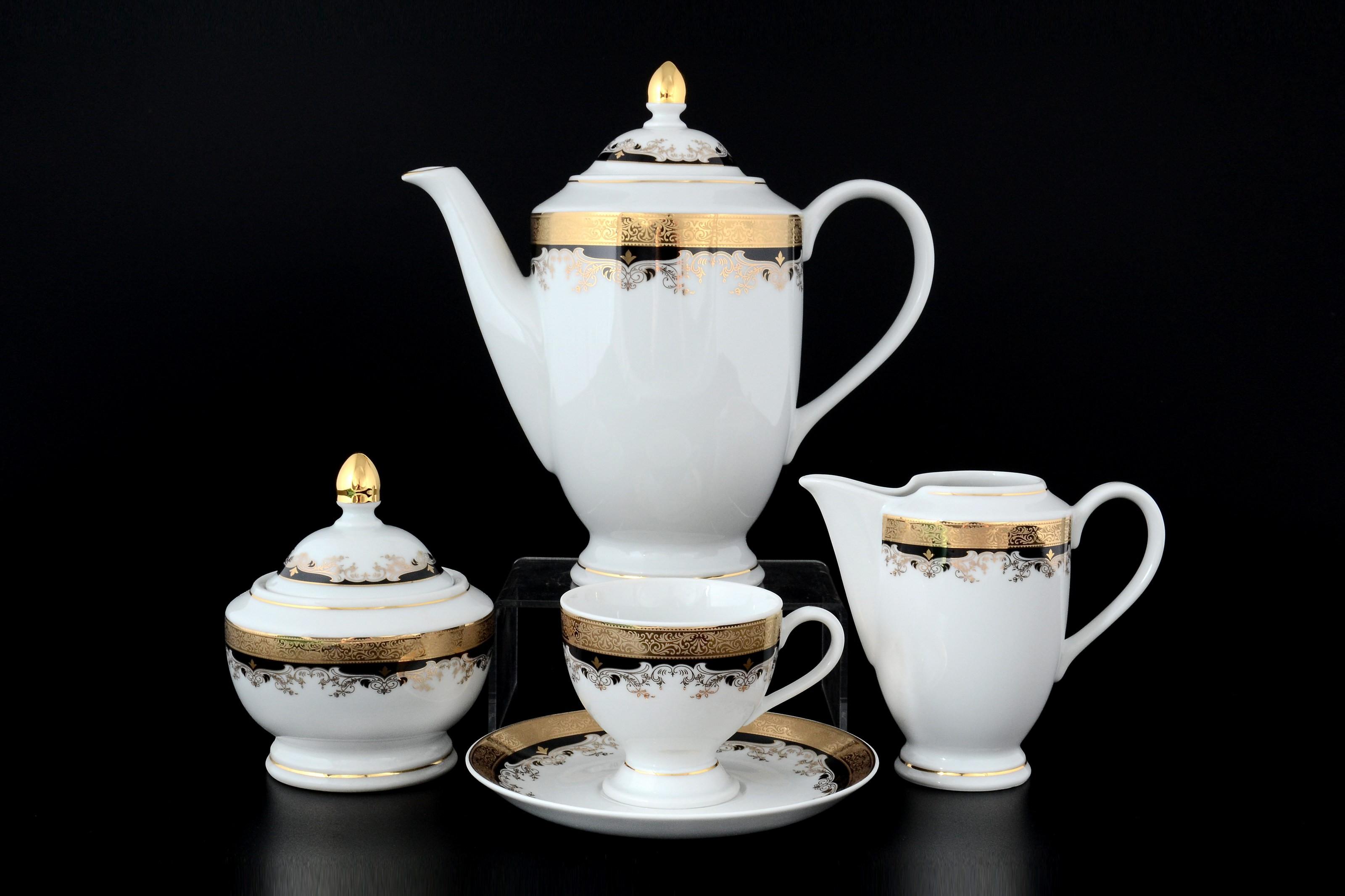 Кофейный сервиз КРИСТИНА, декор - черная лилия, от Thun 1794 a.s.