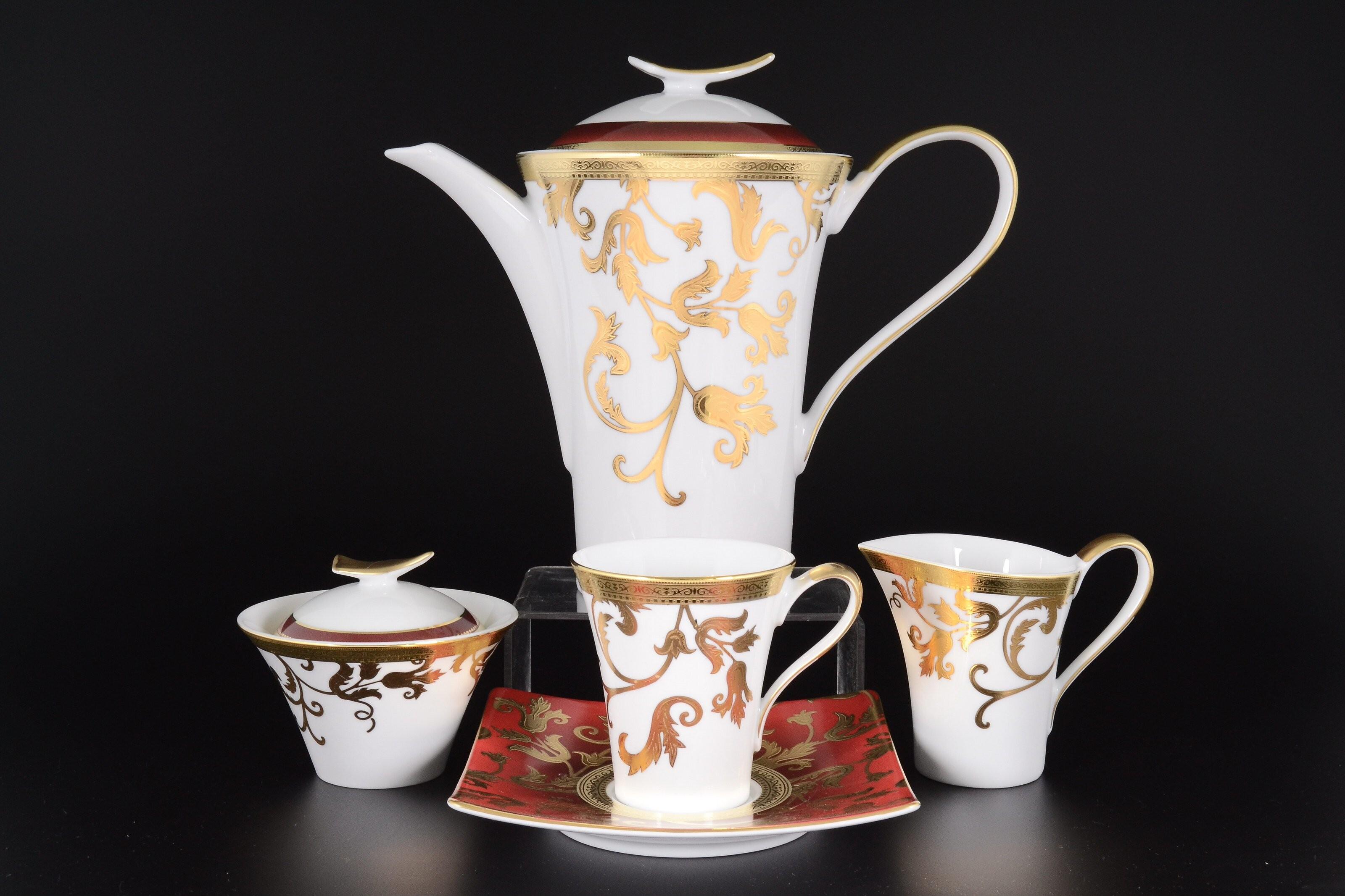 Чайный сервиз TOSCA BORDEAUX GOLD от Falkenporzellan на 6 персон, 17 предметов