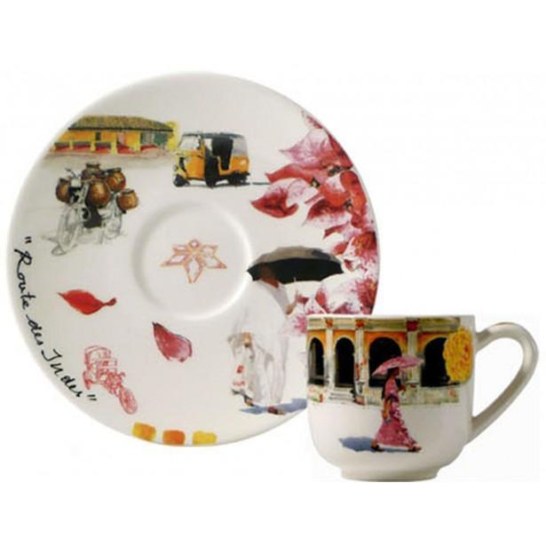 Чашка и блюдце для эспрессо ИНДИЯ от Gien