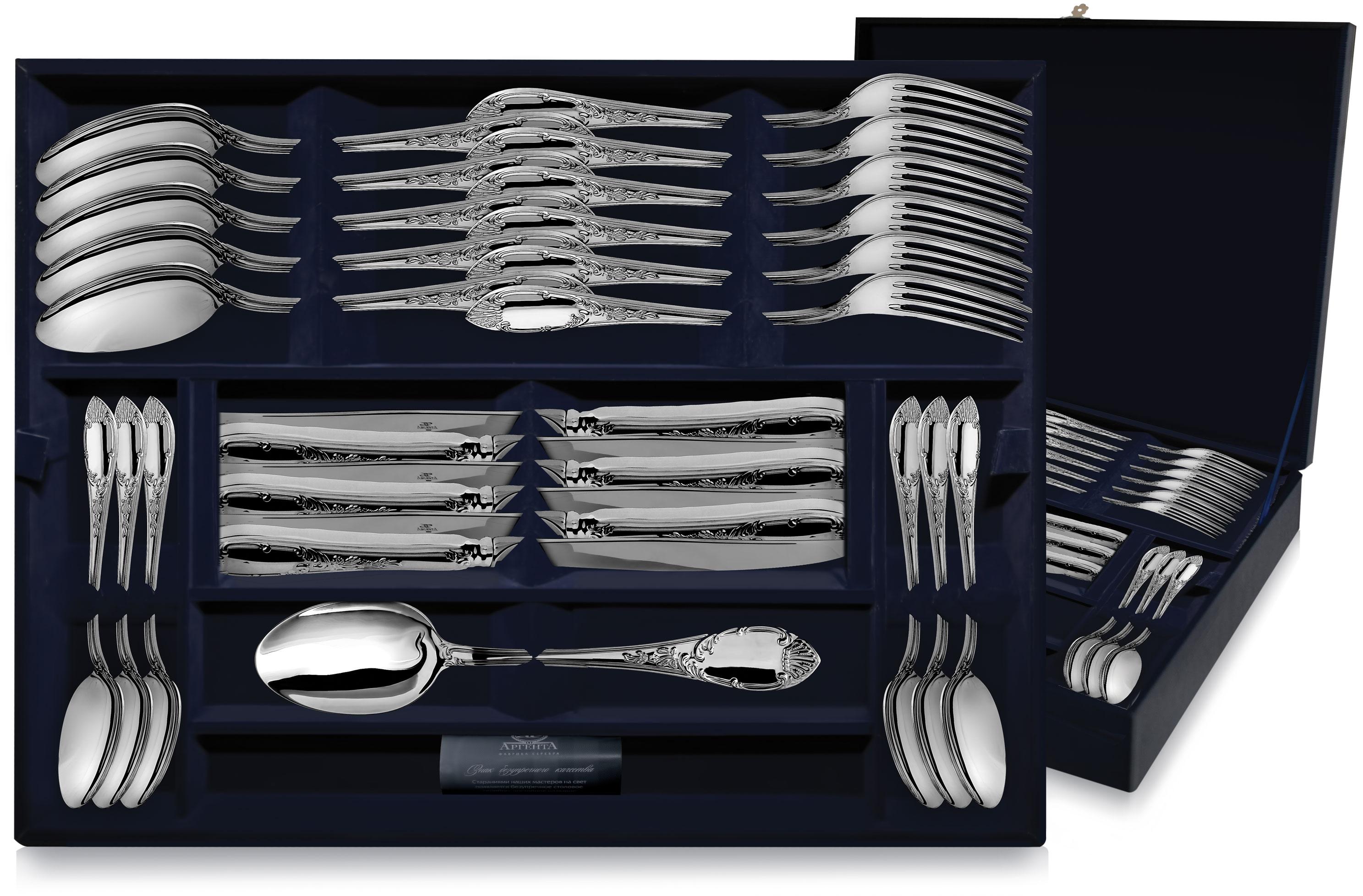 Набор столовых приборов из серебра ПРЕСТИЖ в футляре от Argenta на 6 персон