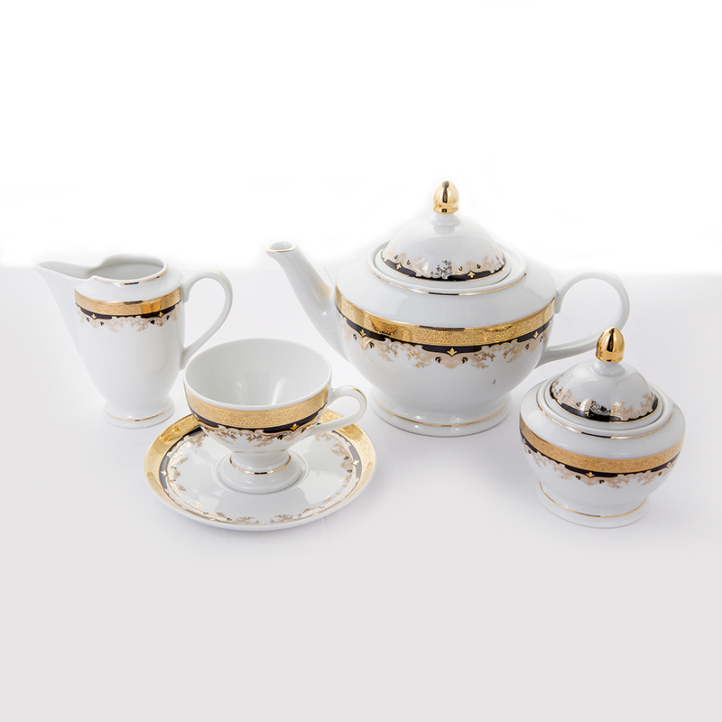 Сервиз чайный КРИСТИНА, декор - черная лилия, от Thun 1794 a.s. на 6 персон, 15 предметов