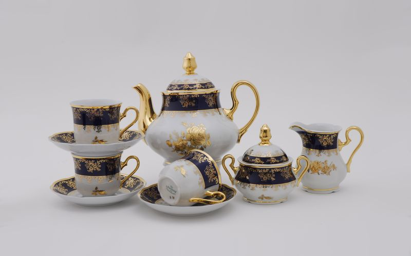 Чайный сервиз МЭРИ-ЭНН, декор ЗОЛОТАЯ РОЗА КОБАЛЬТ, от Leander на 6 персон