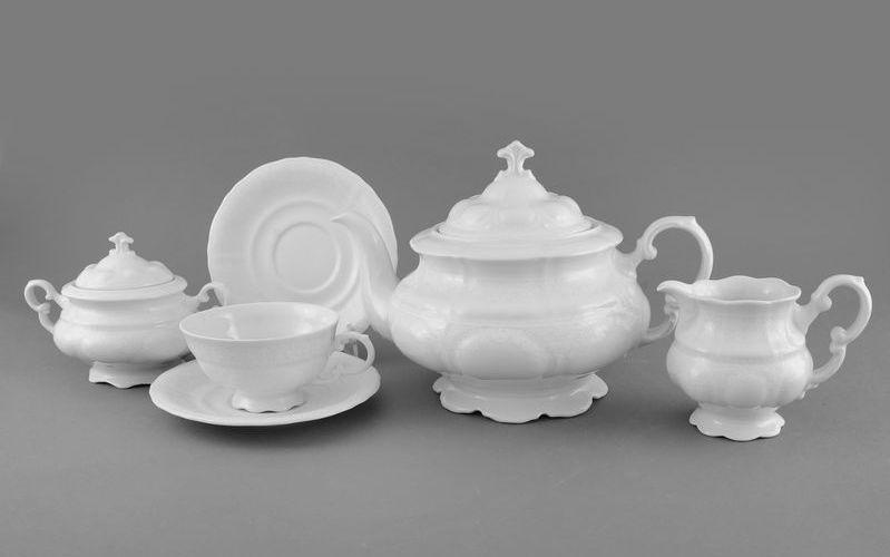 Сервиз чайный СОНАТА, БЕЛЫЙ УЗОР от Leander на 6 персон, 15 предметов