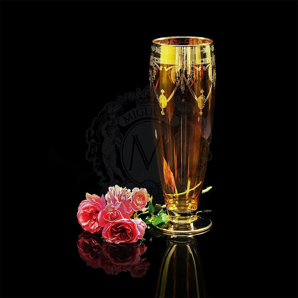 Хрустальная ваза для цветов DINASTIA AMBRA от Migliore