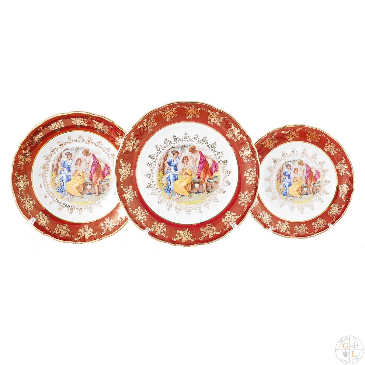 Набор тарелок ФРЕДЕРИКА МАДОННА, КРАСНАЯ расцветка от Carlsbad, 18 предметов