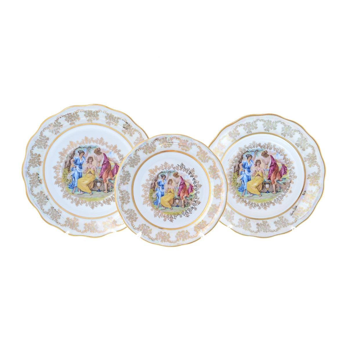 Набор фарфоровых тарелок МАДОННА ПЕРЛАМУТР от Queens Crown (Prince Porcelain) на 6 персон, 18 предметов