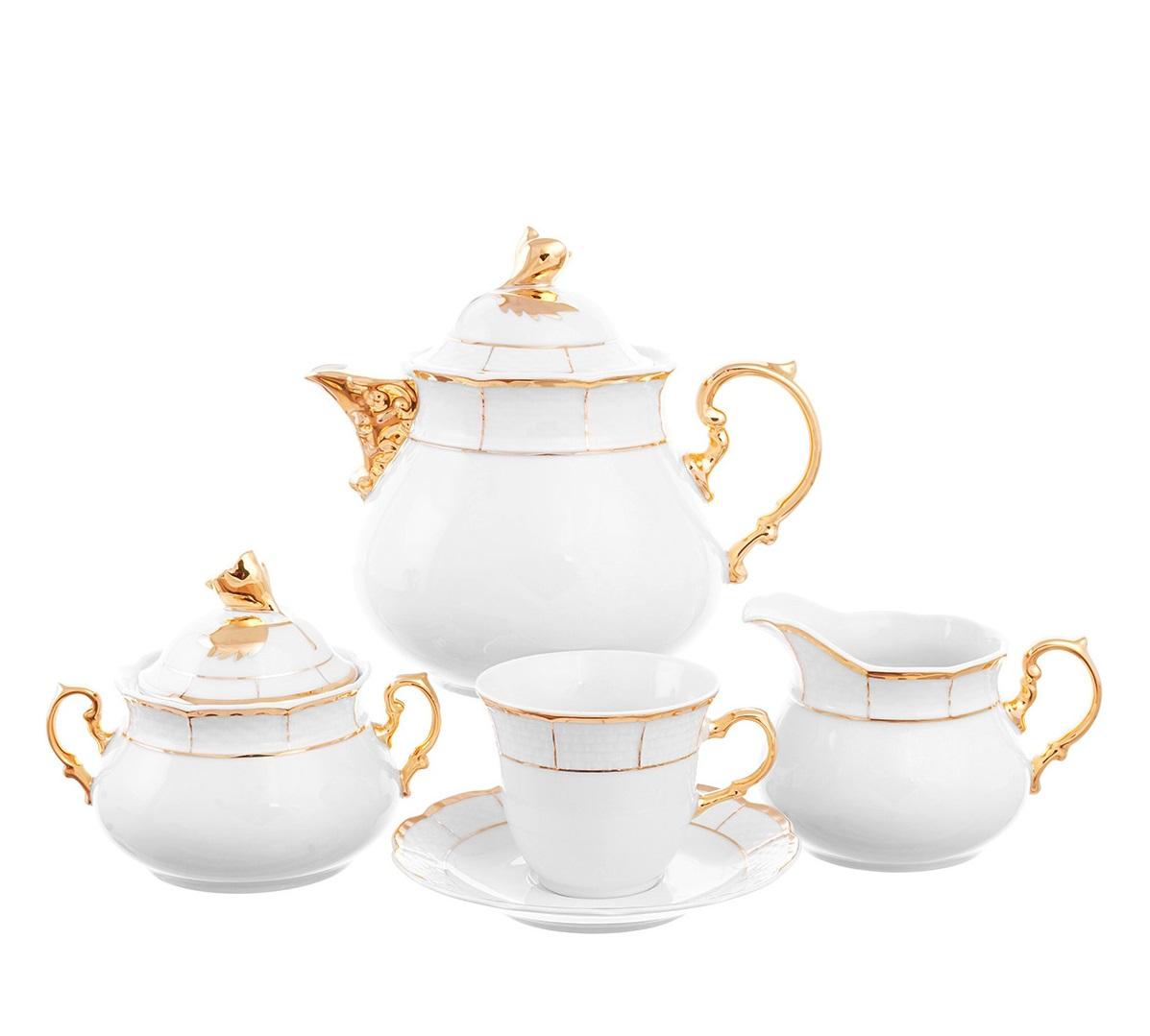 Чайный сервиз МЕНУЭТ, ЗОЛОТОЙ КАНТ от Thun 1794 a.s. на 6 персон, 17 предметов