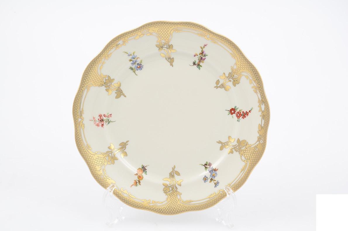 Набор фарфоровых тарелок 25 см МАРИЯ-ЛУИЗА, декор ПОЛЕВЫЕ ЦВЕТЫ, слоновая кость от Carlsbad, 6 шт.