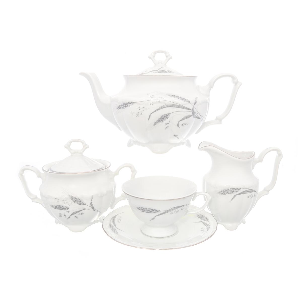 Чайный фарфоровый сервиз СЕРЕБРЯНЫЕ КОЛОСЬЯ (классическая чашка) от Repast на 6 персон, 15 предметов
