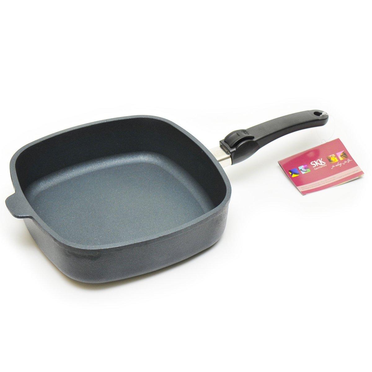 Квадратная сковорода 26 см со съемной ручкой DIAMANT от SKK, литой алюминий, антипригарное покрытие