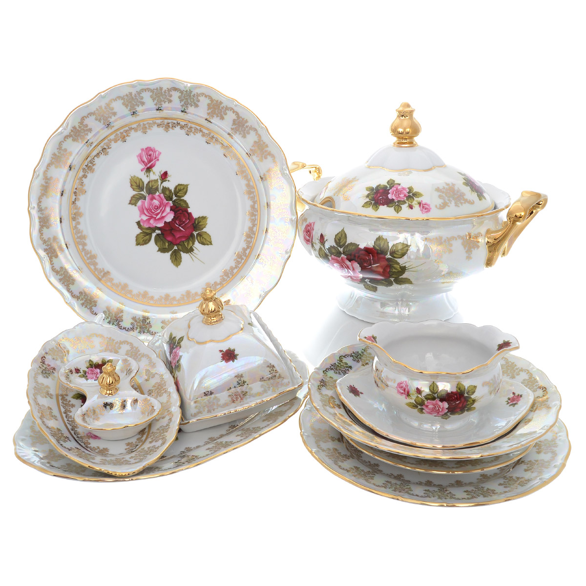 Столовый сервиз РОЗА ПЕРЛАМУТР от Queens Crown (Prince Porcelain) на 6 персон, 27 предметов, фарфор