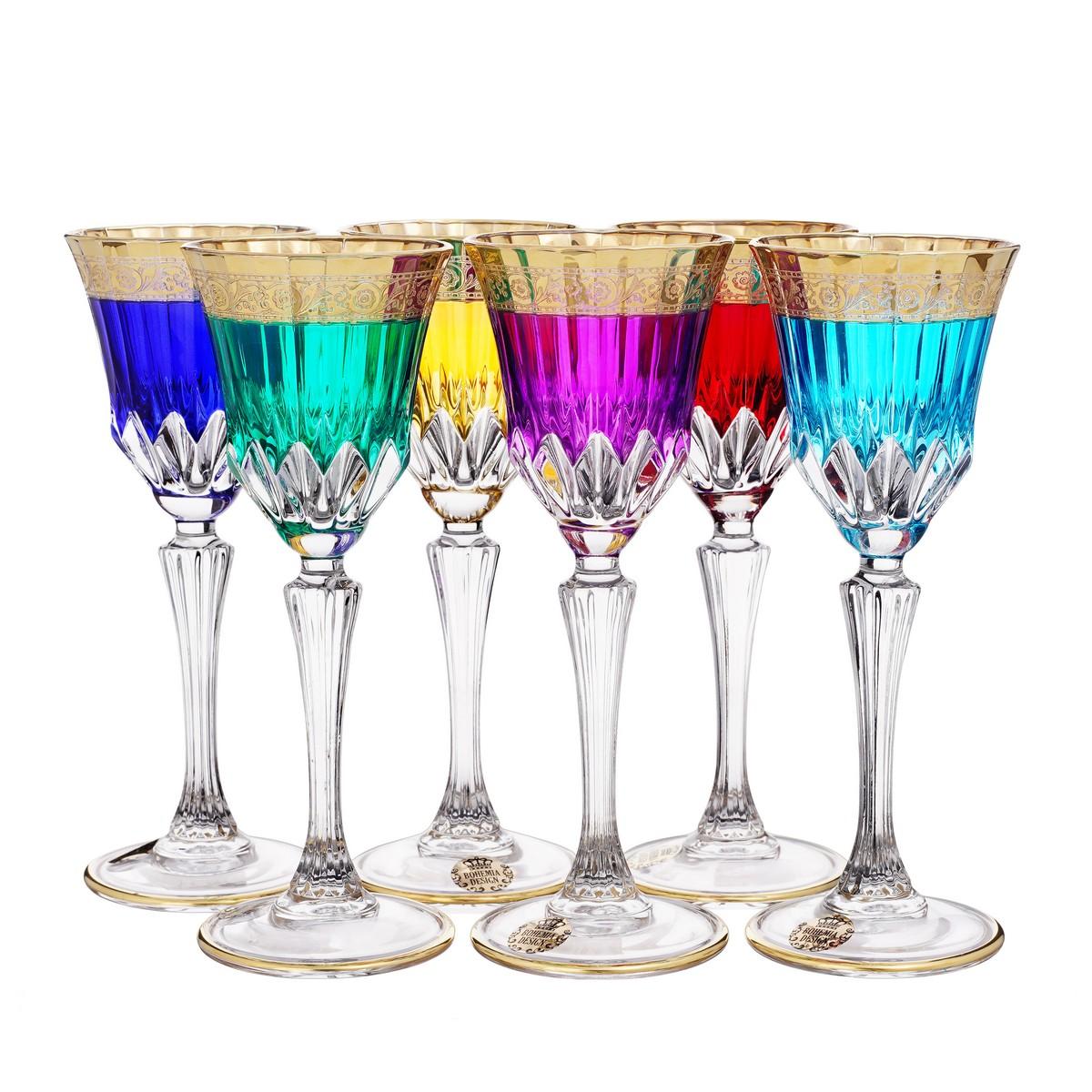 Набор разноцветных рюмок 80 мл АДАЖИО ГАРДЕН колорс от Bohemia Design, стекло, 6 шт.