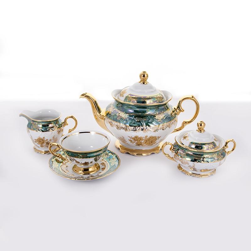 Чайный фарфоровый сервиз РОЗА ЗЕЛЕНАЯ от Carlsbad на 6 персон, 15 предметов