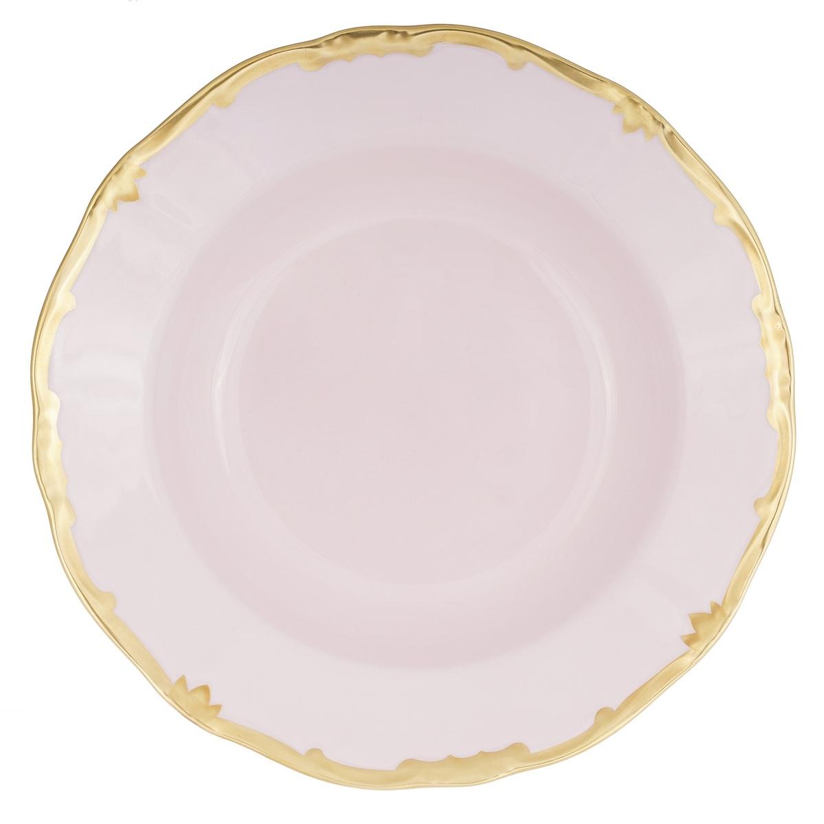 Набор глубоких тарелок 22 см ПРЕСТИЖ РОЗОВЫЙ от Weimar Porzellan, фарфор, 6 шт.