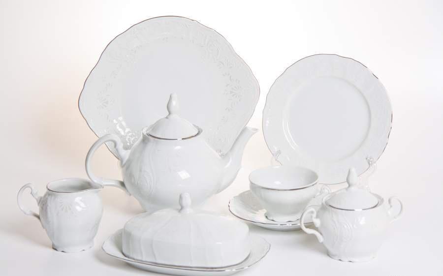 Сервиз чайный фарфоровый БЕРНАДОТТ ПЛАТИНА-2021 от Bernadotte на 12 персон, 41 предмет