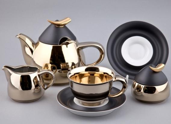 Чайный сервиз KELT-251А, черный с золотом, чайник 1.2 л, от Rudolf Kampf