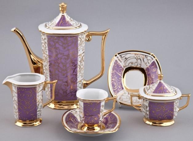 Кофейный сервиз мокко EMPIRE 2336, фиолетовый с золотым, от Rudolf Kampf на 6 персон, 15 предметов, подарочная упаковка