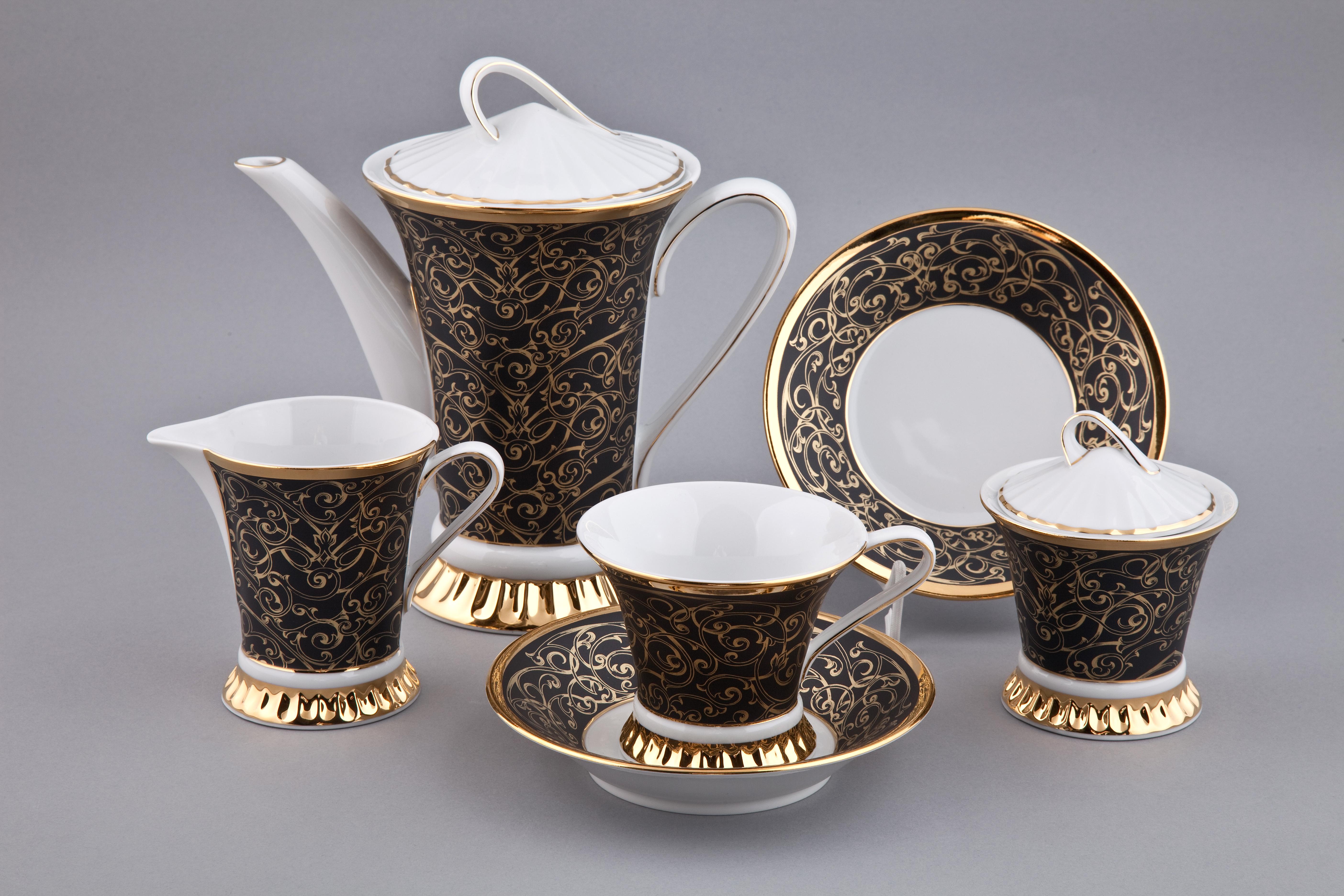 Чайный сервиз ВИЗАНТИЯ (Byzantine) 2244, бело-коричневый с золотом, от Rudolf Kampf