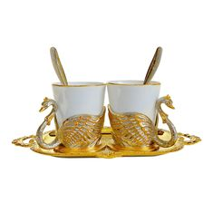 Набор из двух кофейных пар ЛЕБЕДИ от Zlatoust, подарочная упаковка