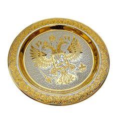 Сувенирная тарелка Герб РФ Большая от Zlatoust