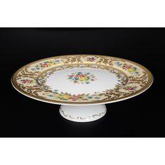 Тарелка для торта 32 см на ножке VIENNA CREME GOLD