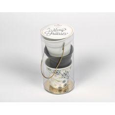 Набор из 3 мятых стаканов, 80 мл, белый, черный сатин, снежинка от Revol