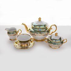 Чайный сервиз ЛИСТ ЗЕЛЕНЫЙ на 6 персон, из 15 предметов от фабрики Carlsbad
