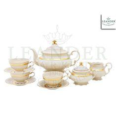Чайный сервиз СОНАТА ЗОЛОТАЯ ЛЕНТА, цвет слоновой кости, от Leander