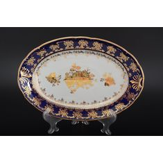 Блюдо овальное КОНСТАНЦИЯ ЗОЛОТАЯ РОЗА КОБАЛЬТ, декор 7635400, от Thun 1794 a.s.