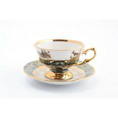 Набор чайных пар ОХОТА, зеленый цвет, от Sterne Porcelan