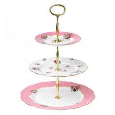 Этажерка для пирожных ВИНТАЖ РОЗОВЫЙ ГОРОШЕК от Royal Albert