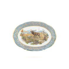 Блюдо овальное ОХОТА ЗЕЛЕНАЯ от Sterne Porcelan