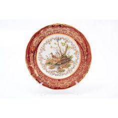 Набор тарелок 19 см ОХОТА, красная расцветка, от Sterne Porcelan