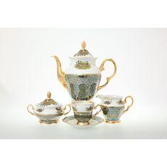 Кофейный сервиз ОХОТА ЗЕЛЕНАЯ от Sterne Porcelan на 6 персон