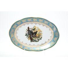 Блюдо овальное ОХОТА ЗЕЛЕНАЯ расцветка от Queens Crown