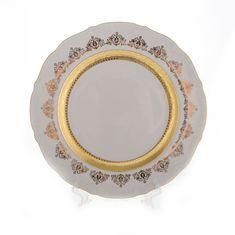 Блюдо круглое ЛИСТ БЕЛЫЙ ЛЕНТА ЗОЛОТАЯ от Bavarian Porcelain