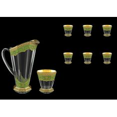 Кувшин и стаканы NATALIA GOLDEN TURQUOISE DECOR от Astra Gold