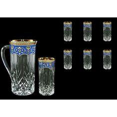 Набор из графина и стаканов OPERA FLORA'S EMPIRE GOLDEN, синий декор, от Astra Gold