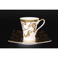 Набор чайных пар 220 мл (квадратные блюдца) TOSCA BLACK GOLD от Falkenporzellan, фарфор, 6 пар