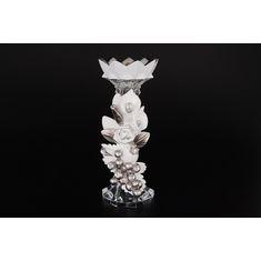 Керамический бело-серебряный подсвечник от Цивик (Cevik), высота 26 см