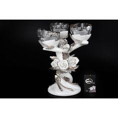 Керамический тройной бело-серебряный подсвечник от Цивик (Cevik), высота 34 см