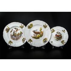 Набор фарфоровых тарелок ОХОТА от Bernadotte на 6 персон, 18 предметов