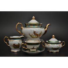 Чайный сервиз ФРЕДЕРИКА ОХОТА, зеленый декор, от Carlsbad