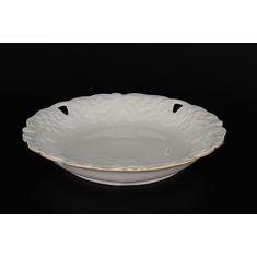 Фарфоровое круглое блюдо 30 см с фигурным краем БЕЛЫЙ УЗОР от Queen's Crown