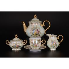 Чайный сервиз ОФЕЛИЯ, МАДОННА ПЕРЛАМУТР от Queens Crown (Prince Porcelain) на 6 персон, 17 предметов
