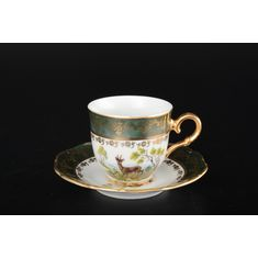 Набор кофейных пар 170 мл МАГНОЛИЯ, ОХОТА ЗЕЛЕНАЯ от Queens Crown (Prince Porcelain), 6 пар