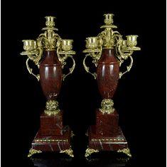 Пара канделябров на 5 свечей из яшмы, бронзы и латуни от Zlatoust